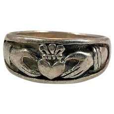 Claddagh Ring, Sterling Silver, Size 9 1/2, Vintage Ring, Ring Band, Irish Jewelry, Irish Wedding