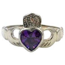 Claddagh Ring, Iolite Stone, Sterling Silver, Size 7 1/2, Vintage Ring, Purple, Irish, Celtic Ring, Irish Wedding, Heart, Crown, Hands