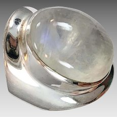 Moonstone Ring, Sterling Silver, Vintage Ring, Size 7 1/2, Aryo, Designer, Glowing Stone, White Moonstone