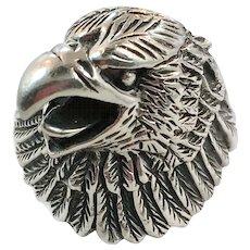 Bird Ring, Eagle Ring, Sterling Silver, Vintage Ring, Mens Ring, Size 12.5, Biker Ring, Rocker Ring, Patriotic Jewelry, Hawk Ring, Wide