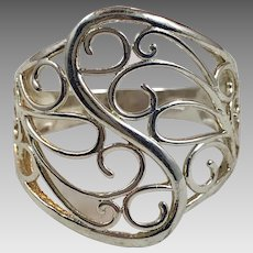 Modern Ring, Sterling Silver, Vintage Ring, Wide, Cigar Band, Statement Ring, Unique, Size 9 1/2