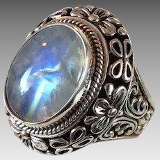 Moonstone Ring,Sterling Silver, Vintage Ring, Size 9, Big Statement