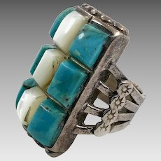 Turquoise Ring, Native American, Mother of Pearl, Sterling Silver, Vintage Ring, Cobblestone Inlay, MOP, Size 6 1/2