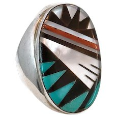 Turquoise Ring, Native American, Sterling Silver Ring, Signed Zuni, Inlaid, Coral, Black Onyx, MOP, Vintage, Size 11 1/2, Big, Wide, Inlay