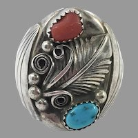 Turquoise Ring, Native American, Red Coral, Sterling Silver, Navajo, Signed ES, Feather, Mens Ring, Size 13 1/2, Big, Huge, Large, Wide
