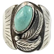 Turquoise Ring, Sterling Silver, Vintage Ring, Native American, Signed, L. Quicino, Mens Mans, Size 11 1/2, Detailed, Feathers, Big, Large