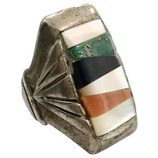 Turquoise Ring, Native American, Sterling Silver, Vintage Ring, Size 8 1/2, Green Turquoise, Spiny Oyster Shell, Onyx, MOP, Inlay, Big