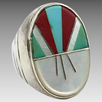 Turquoise Ring, Native American, Sterling Silver, Vintage Ring, Size 11, Zuni, Big, Large, Inlaid, Inlaid, Coral, MOP, Mens Ring, Mans Ring