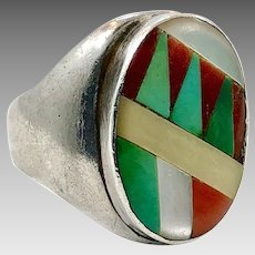 Turquoise Ring, Sterling Silver, Vintage Ring, Zuni, Native American, Inlaid, Size 10 1/2, Red Coral, MOP, Big, Mens Ring, Southwestern