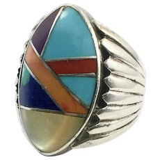 Turquoise Ring, Native American, Sterling Silver, Size 11, Massive, Inlay, Inlaid, Stones, Coral, Sugalite, MOP, Vintage, Mens Ring, Navajo