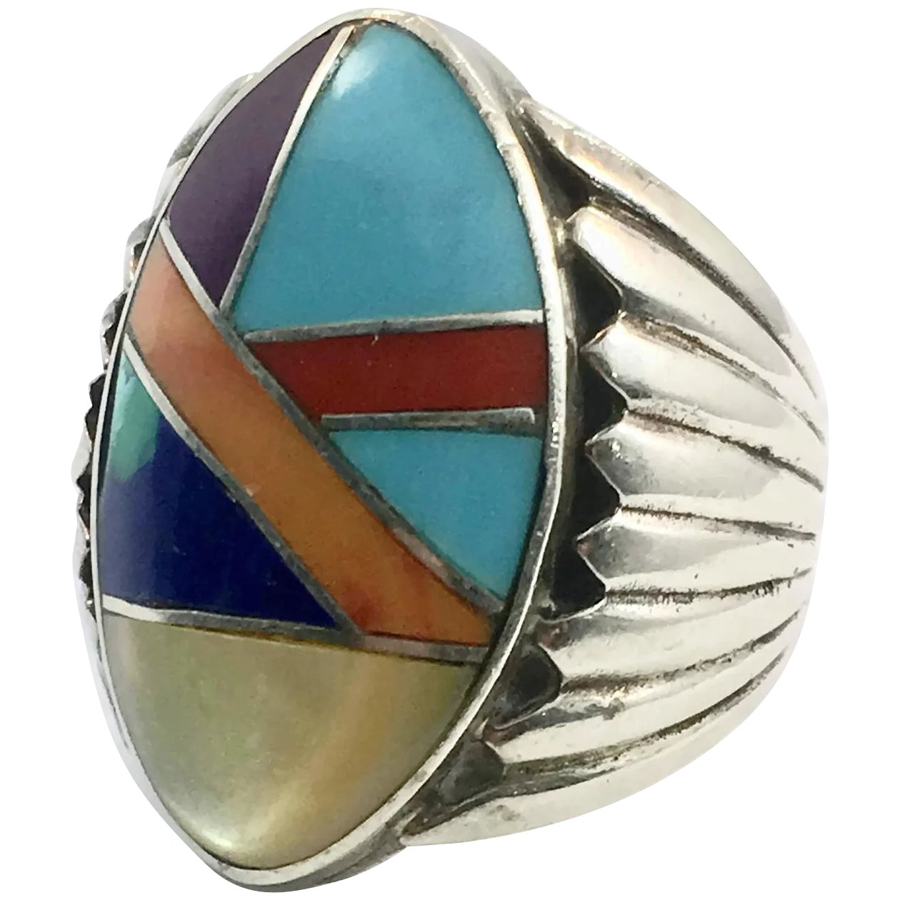 Men/'s Vintage Hurricane Turquoise and Sterling Silver Inlay Ring size 9 Hurricane  inlay  Ring Active Typhoon Hippie ring