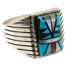 Turquoise Ring, Native American, Sterling Silver, Signed SB, Sam Begay, Inlay Turquoise, Coral Onyx MOP, Size 14, Vintage, Mens, Unisex