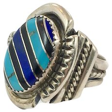 Lapis Ring, Turquoise, Vintage Ring, Native American, Black Onyx, Sterling Silver, Inlay, Mens Ring, Size 8, Inlaid Ring, Big Ring