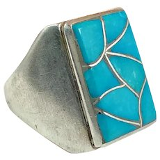 Turquoise Ring, Sterling Silver, Vintage Jewelry, Zuni, Native American, Signed, Mens Ring, Inlaid, Size 10 1/2