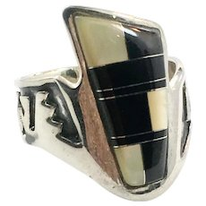 Onyx Ring, Native American, Mother of Pearl, Sterling Silver, Vintage Ring, Size 7 1/4, Zuni, Inlaid, Signed, MN, MOP Shell, Symbols