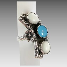 Turquoise Ring, Native American, Sterling Silver, Vintage Ring, Navajo, Mother of Pearl, Size 9 1/4, Long Ring