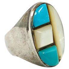 Turquoise Ring, Native American, Mother of Pearl, Sterling Silver, Vintage Jewelry, Inlay, MOP, Size 9 1/2, Mens Mans, Boho, Statement