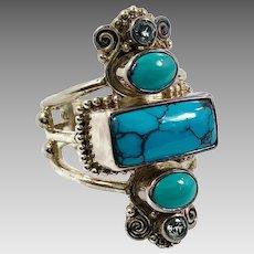 Turquoise Ring, Blue Topaz, Sterling Silver, Vintage Ring, Sajen, Designer, Size 8 1/2