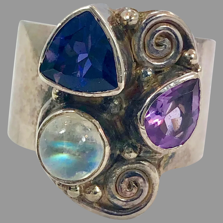 Amethyst and Moonstone Multi-Stone Silver Ring