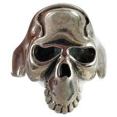 Skull Ring, Skeleton Ring, Sterling Silver, Vintage Ring, Size 14, Big, 925, Gothic, Creepy, Biker, Rocker, Huge, Mens, Heavy, Day of Dead