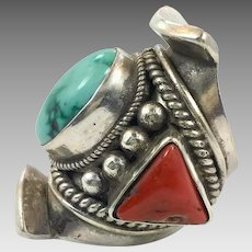 Turquoise Ring, Red Coral, Sterling Silver, Saddle Ring, Vintage Ring, Nepal Jewelry, Statement Ring, Tibet Ring
