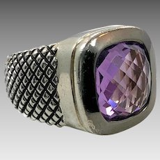 Amethyst Ring, Sterling Silver, Vintage Ring, Wide Band, Size 6, Checkerboard Facet, Purple Ring, Unisex, Mans Mens, Contemporary, Statement