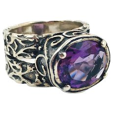 Amethyst Ring, Sterling Silver, Size 7 1/2, Vintage Ring, Brutalist, Artisan, Handcrafted, Large, Wide, Unusual, Unique, Purple Stone
