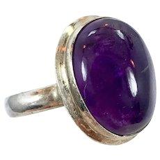 Amethyst Ring, Purple Gemstone, Sterling Silver, Vintage Ring, Size 7 3/4, Vintage Jewelry, Purple Stone, Amethyst Cabochon, Big Stone, Wide