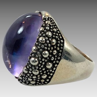 Amethyst Ring, Sterling Silver Ring, Vintage Ring, Purple Ring, Size 7 1/2, Doublet Stone, Designer, Michael Dawkins, Starry Night, Large