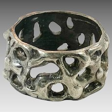 Brutalist Ring, Sterling Silver, Ring Band, Vintage Ring, Size 7 1/2, Handcrafted, Modern Jewelry, 1970s, 70s, OOAK, Organic, Rustic