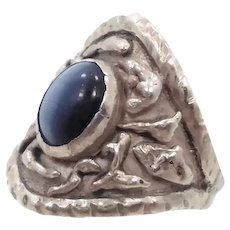 Cat's Eye Ring, Brutalist, Sterling Silver, Size 9 1/2, Handcrafted