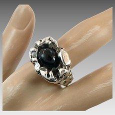 Brutalist Ring, Sterling Silver, Vintage Ring, Black Onyx, Size 8 1/4, Nugget, Gemcraft, Statement, Unisex, Mens Mans, Modernist, Organic