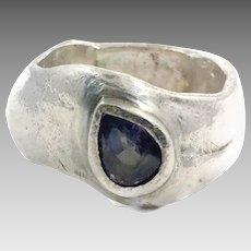 Blue Topaz Ring, Sterling Silver, Vintage Ring, Brutalist, Size 9 1/2, Wax Cast, Artisan, OOAK, Modern, Studio Design, Unique, Unusual