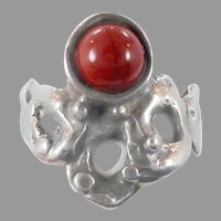 Carnelian Ring, Brutalist Ring, Israel, Sterling Silver, Vintage Ring, Red Stone, Wax Cast, Modernist, Organic, Size 9 1/2, Rustic, Freeform