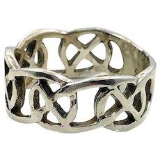 Celtic Knot Ring, Sterling Silver, Celtic Band, Vintage Ring, Irish Jewelry, 925, Size 9, Irish Wedding Band, Unisex, Mens, Vintage Jewelry