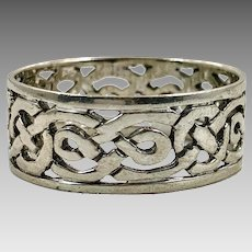 Celtic Knot Ring, Sterling Silver, Celtic Band, Vintage Ring, Irish Jewelry, 925, Size 13 1/2, Irish Wedding Band, Wide, Thumb Ring