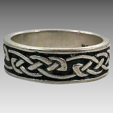 Celtic Knot Ring, Sterling Silver, Size 8 1/2, Celtic Band, Vintage Ring, Irish Jewelry, Irish Wedding Band, Unisex, Mens Ring