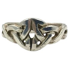 Celtic Knot Ring, Sterling Silver, Size 6 1/4, Celtic Band, Vintage Ring, Irish Jewelry, 925, Irish Wedding Band, Unisex, Mans Mens