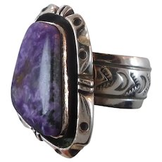 Charoite Ring, Sterling Silver, Native American, Adjustable Size, Vintage Ring, Statement Ring, Big, Womens, Mens, Large, Wide, Purple Stone