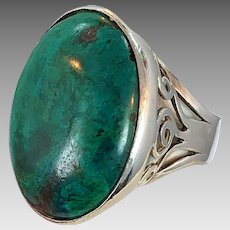 Chrysocolla Ring, Sterling Silver, Vintage Ring, Size 9 1/2, Huge, Modern, Turquoise, Blue Green Stone, Statement Ring, Unisex, Massive