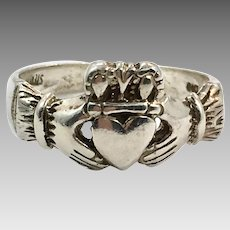 Claddagh Ring, Sterling Silver, Vintage Ring, Irish Jewelry, Celtic Ring, 925, Size 6 3/4, Irish Wedding, Heart, Crown, Hands