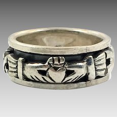 Claddagh Ring, Spinner, Sterling Silver, Size 5, Celtic Knot, Vintage Ring, Irish Jewelry, 925, Irish Wedding, Heart, Crown, Hands