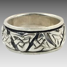 Claddagh Ring, Spinner, Sterling Silver, Size 7, Celtic Knot, Vintage Ring, Irish Jewelry, 925, Irish Wedding Band, Worry Ring