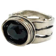 Black Onyx Ring, Sterling Silver, Brutalist, Modern, Size 8, Designer, Didae, Israel, Contemporary, Vintage Ring, Big Statement, Mens Unisex