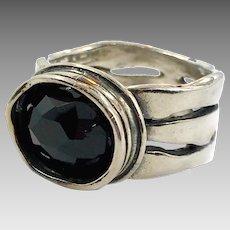 Black Onyx Ring, Sterling Silver, Brutalist, Modern, Size 8, Designer, Didae, Israel, Contemporary, Vintage Ring, Big Statement, Mens Unisex