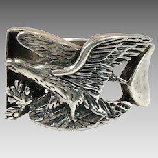 Eagle Ring, Sterling Silver, Vintage Ring ,Bird, Size 11, Heavy Silver, Biker, Rocker