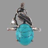 Turquoise Ring, Leaf, Sterling Silver, Vintage Ring, Size 7 1/2, Unique, Vine, Flower Ring, Floral