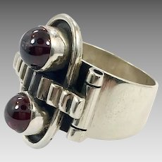 Garnet Ring, Sterling Silver, Vintage Ring, Size 7, Industrial Jewelry, Steampunk, Unique, Red Garnet, Artisan Ring, Modernist, Contemporary