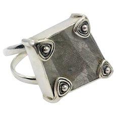 Stone Ring, Sterling Silver, Vintage Ring, Modern, Contemporary, Minimalist, Size 9 1/2, Designer, Gray Stone, Aryo, Geometric, Unique, Big