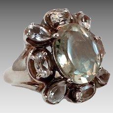 Green Amethyst Ring, Prasiolite, Topaz, Vintage Ring, Stunning, Size 7 1/4